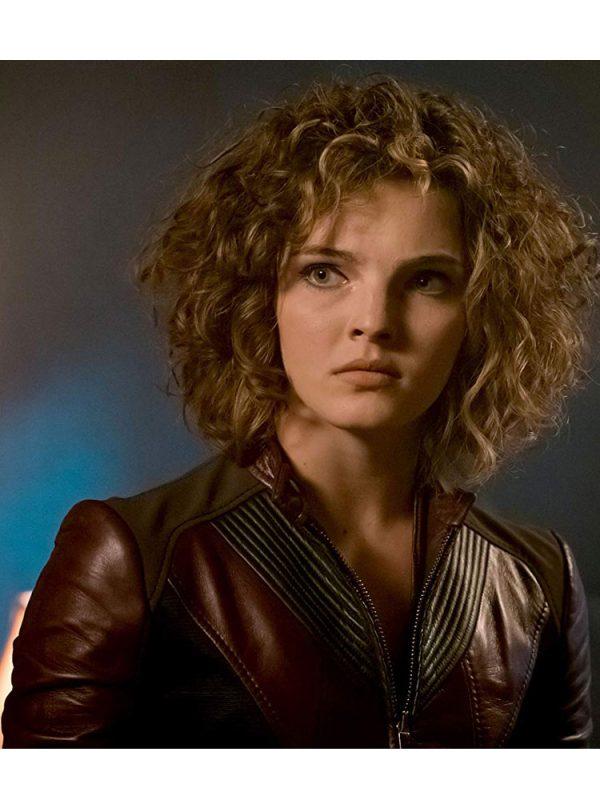 gotham-camren-bicondova-burgundy-leather-jacket