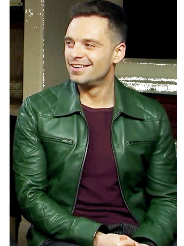 sebastian-stan-quilted-green-leather-jacket