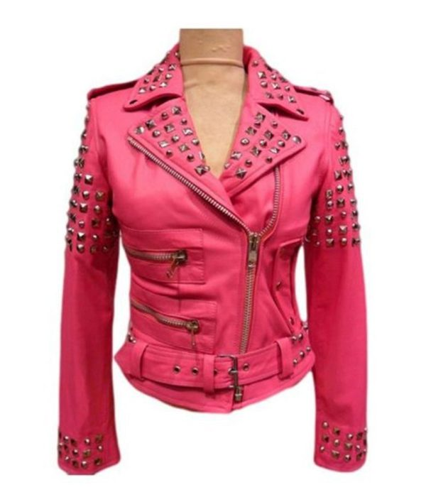womens-pink-studded-leather-jacket