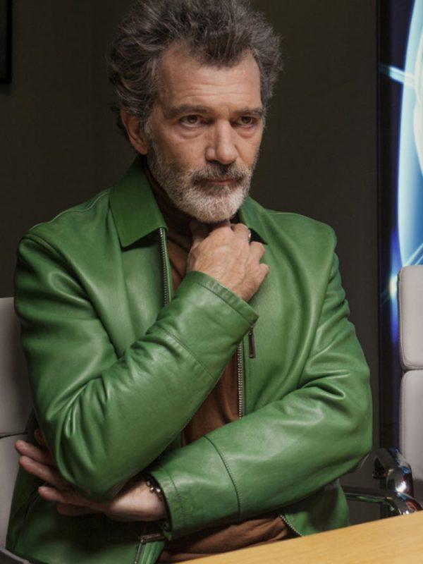 antonio-banderas-pain-glory-green-leather-jacket