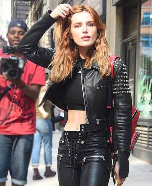 bella-thorne-black-leather-jacket