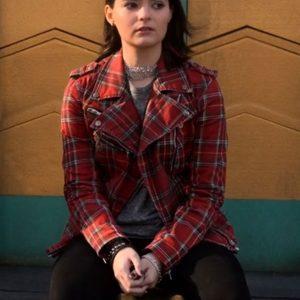 lucifer-season-06-brianna-hildebrand-red-plaid-moto-jacket