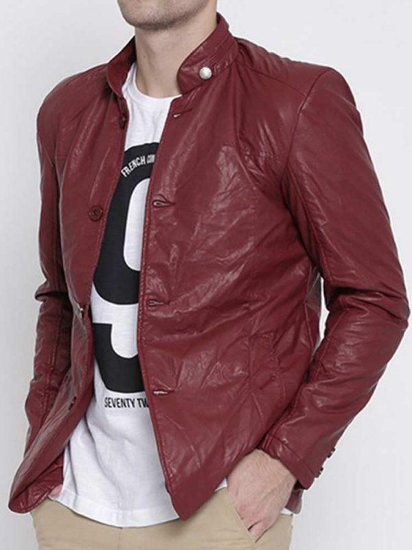 mens-collar-maroon-faux-leather-blazer