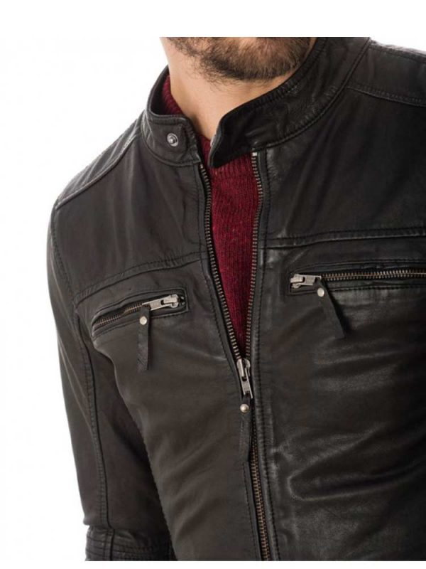 mens-zipper-casual-snap-tab-collar-leather-jacket