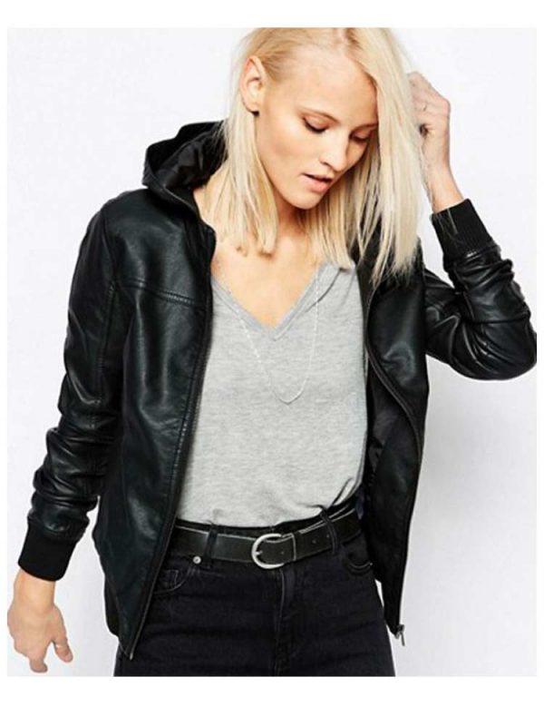 womens-black-leather-bomber-hoodie
