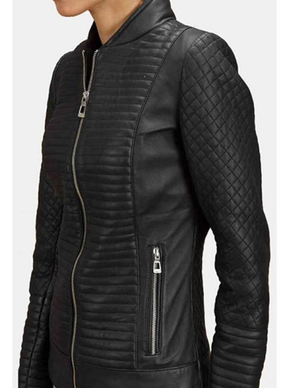 womens-stand-up-collar-diamond-leather-jacket