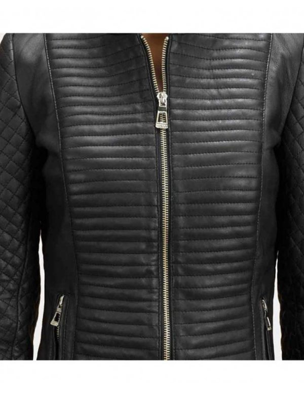 womens-stand-up-collar-quilted-leather-jacket